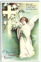 VTG Postcard Ellen Clapsaddle Int Art Publish Easter 1912 Angel Cross WA A5