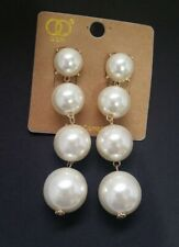 Trendy  Imitation PEARL Beads gold-tone metal Long  Drop Earrings X8-10/22