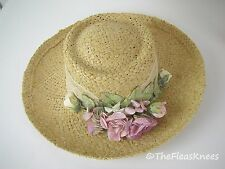 GARDEN PARTY Straw Hat by CAPPELLI Pink Flowers & Lace