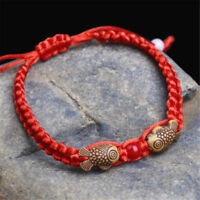 2PCS Feng Shui Red String Lucky Wooden Twin Fish Charm Bracelet Good Luck Wealth