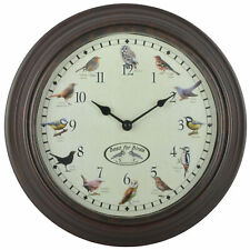 Esschert Design Clock With Birdsounds Round Battery Operated Wall Bird Clock#