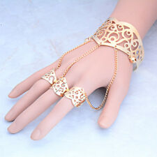Fashion Gold Hollow Bracelet Bangle Slave Chain Link Finger Ring Hand Harness
