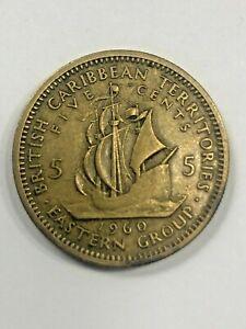 1960 British Caribbean Territories 5 Cent Coin #453
