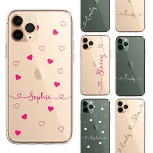 Script Heart PERSONALISED CLEAR Initials Name Phone Case Cover for iPhone Sam...