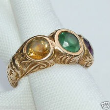 14k Gold Victorian Antique Gemstone Ring with Bearded Man Shank  Sz 7 Estate