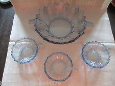 schöne alte blaue Kristallschale + 3 Dessertschalen  um 1920