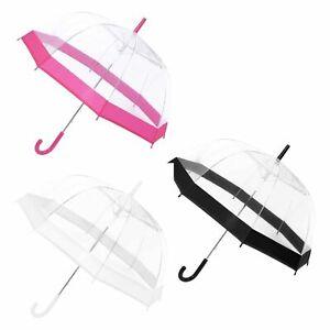 23''Large Clear See Through Dome Umbrella Ladies Transparent Walking Rain Brolly