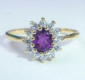 9ct Gold Amethyst & CZ Ring, Size M
