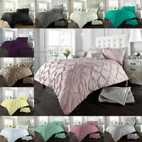 Luxury Pintuck Duvet/Quilt Cover Set with Pillowcases Polycotton Bedding Sizes