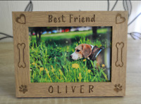 Personalized Dog Picture Frame Photo Frame, Custom Pet Memorial Wood Photo Frame