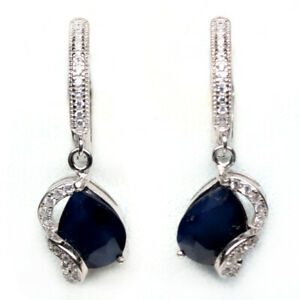 NATURAL 8 X 10 mm. BLUE SAPPHIRE & WHITE CZ 925 STERLING SILVER EARRINGS