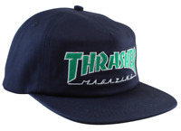 THRASHER Skateboard Magazine Outlined Logo Navy Blue / Green Snapback Hat