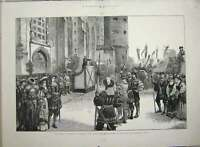 Old Antique Print 1883 Luther Germany Schloss-Kirche Wittenberg Fine Art 19th