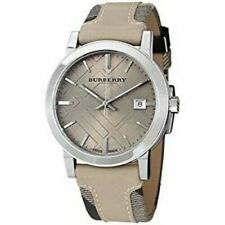 Brand New Burberry BU9021 Cream Sun-ray Dial Check Stainless Steel Women's Watch
