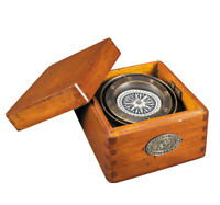 """Bronze Lifeboat Compass In Antiqued Wooden Case 4.7"""" Nautical Decor Gift New"""