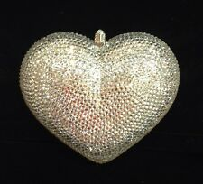 NIB Crystal Evening Bag Clutch Hand Bag made with Swarovski Elements Heart Clear