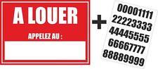 Autocollant sticker maison appartement a louer + planche numero telephone
