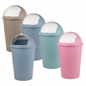 Plastic 50L Roller Top Lid Bins Bullet Waste Dustbin Rubbish Garbage Kitchen NEW