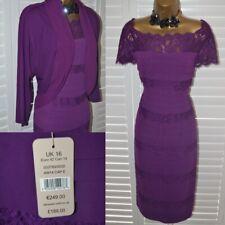 ~ JACQUES VERT ~ Purple Dress & Bolero Jacket Size 16 Suit Mother of the Bride