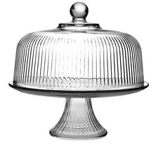 Anchor Hocking Monaco Ribbed Glass Cake Stand Dome And Punch Bowl