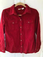 L.L. Bean Womens Chamois Red Button Down Shirt Size Small