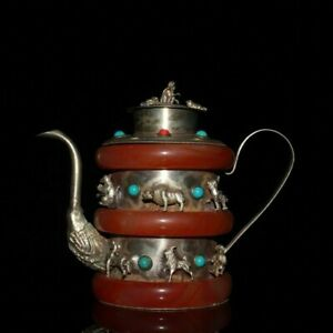 Old Chinese tibet silver jade inlay gem carved dragon wine pots red