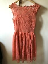 Asos Coral Net Lace Skater Dress Embroidered 6 Party Wedding