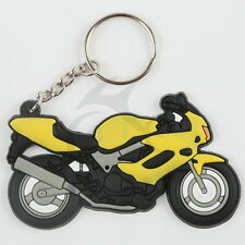 Rubber Yellow Motorcycle Motorbike Design Keyring Keychain Key Chain Gift