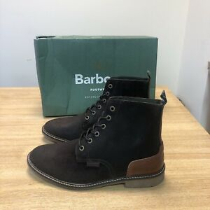 MEN'S BARBOUR MOJAVE SUEDE LACE UP BOOTS IN DARK BROWN UK 7