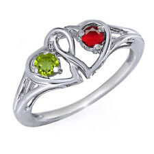 Peridot & Ruby Round Color Stone Couple's Double Heart Ring Sterling Silver