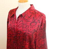 Jones New York -Sz 3X Elegant Reptile RED Snake Black Silky Tunic Shirt Top FAB!