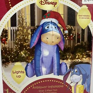 Gemmy Airblown Disney Eeyore 3' Inflatable Christmas Santa Hat Yard Decor