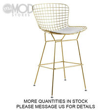 Gold Wire Counter Stool with Seat Pad Wireback Modern Mid Century Mesh Stool