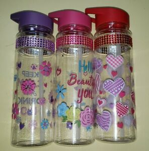 23oz Water Bottle Plastic with Straw Bling New Valentines Cup #WBKS4