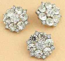 6PCs Charming Clear Rhinestone Diamante Silver Flower Shank Buttons Sewing 30mm