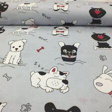 Baumwollstoff 100% Meterware 0,5lfm 1,6m breit Dekostoff Hunde Pfote Woof Grau