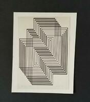 Josef Albers Ascension From Graphic Tectonic Mounted b/w Litho 1973 PlateSigned
