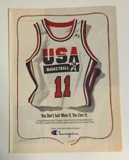 1992 USA Basketball Champion Jersey Print Ad Barcelona Olympics Dream Team