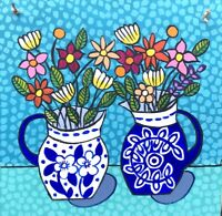 Original Painting Flowers In Blue & White Jugs On Board,Naive/Folk Art, Daisies