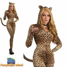 Sly Leopard Sexy Catsuit Jumpsuit Animal Adult Ladies Fancy Dress Costume