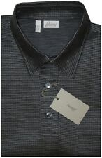 $700 NEW BRIONI DARK SILVER & BLACK MERCERIZED SHORT SLEEVE POLO SHIRT M