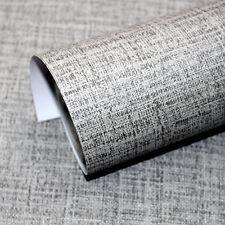 Faux Grasscloth Peel Stick Wallpaper Lt.Grey Linen Self Adhesive Contact Paper