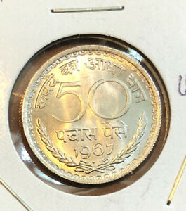 1967 India 50 Paise UNCIRCULATED Collectible Coin~KM#58.1