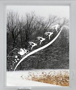 Santa Sleigh Christmas Reindeer Rudolph Window Sticker Vinyl Decal Decoration 1m