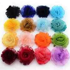 7cm Fabric Artificial Chiffon Rose Flower Craft Wedding Bride Decor 8 COLOURS