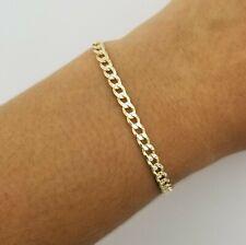 "14K Yellow Gold Diamond Cut Italian 7"" Cuban Curb Link Chain Bracelet"