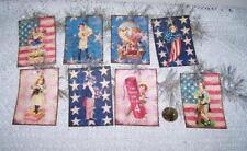 Vintage~4th of July~Patriotic~Glitter~Li nen Cardstock~Gift~Hang~Tags