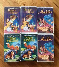 Walt Disney All Black Diamond Vhs Lot of 6 - Beauty Beast Aladdin Fox Hound