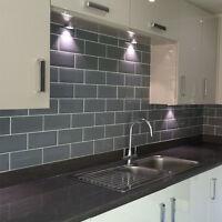 Grey Metro Brick Effect Polished Ceramic Wall Tiles - SAMPLE