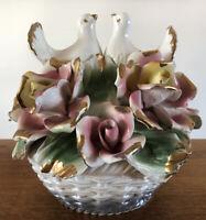 Antique Vintage Capodimonte Porcelain Italy Centerpiece Roses Love Doves Basket